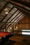 Reclaimed crackled red barn wood ceiling boards