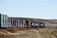 From Texas, the containers were sent by truck and loaded on a train for the 1500 mile trip to Los Angeles.