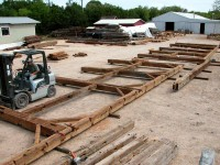 For the first leg of its journey, the barn was transported 2000 miles by truck to our shop in central Texas.
