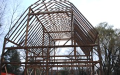 The restored and reerected barn frame, ready for finish out construction.
