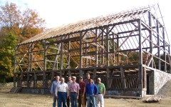 Bob Krakiewicz (in the white shirt) from the New Jersey Barn Company helped us stand this barn and brought to the raising his wisdom gained through years of barn restoration.